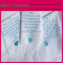Factory 100% cotton monogram embroidery handkerchief for something blue wedding gifts
