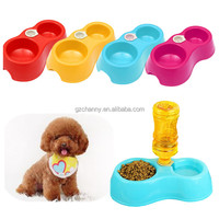 New High Quality Special Design 2 in 1 Pet Dog Puppy Automatic Water Dispenser Food Dish Feeder 2 Bowls Fountain