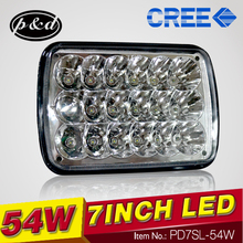 54W motorcycle high power led driving lights 7inch rectangle led c ree driving lights