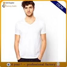 Wholesale man cotton plain white tshirt, custom men high quality cheap printed v neck tshirts