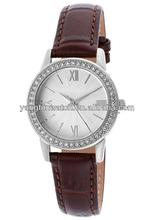 Black Japan movt quartz watch genuine leather band women's diamond design professional high quality watch