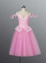 rosa carino balletto romantico abito adulto volant lungo Giselle costume vestito birichino