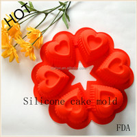 cake decorating machines 3D DIY 6holes Promotional Heart Shape Mini Silicone Cake Pan Baking Mould cake tools