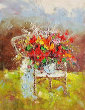 Flowers Painted on Canvas with Palette Knife Acrylic Kitchen Wall Art