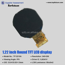 new product! round lcd display 1.22 inch display IPS transmissive for smart watch-TF12210A