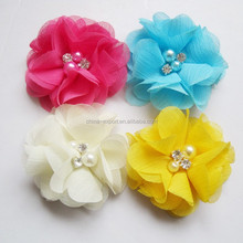 JPB110 Hot sale chiffon mesh lace flower hair accessories for kids 2015