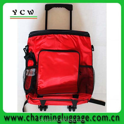 NEW Collapsible red insulated rolling cooler bag