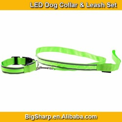 Reflective Strips LED Collar Leash Set High Visibility Safety Walking with Dog DS010