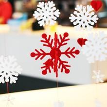 KAREADO 2015 Christmas gift beautiful DIY felt material set of snowflake hanging ornaments classic xmas decoration