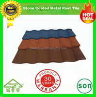 milano natural color stone coated metal roof tiles