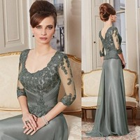 2015 elegant mother of the bride dress with half sleeve and lace appliqued KE5263