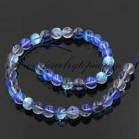 SP0751 China Cheap Sapphire Blue Frosted Imitated Opal Glass Round Beads