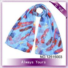 Neck Design Blue Polyester Scarf Viscose