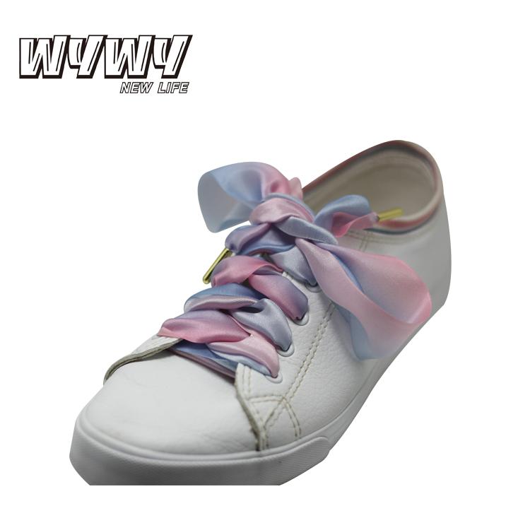 フラットワイド緩やかな変更色レインボープリント靴紐