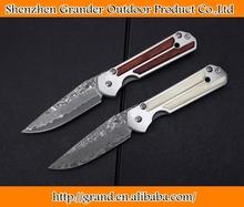 Steel + Animal bone handle damascus steel knife folding knives 4990