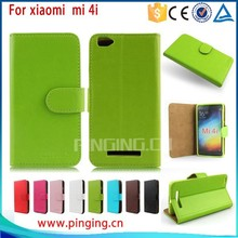 wholesales phone accessories Mixed colors card slots leather flip case phone accessory for xiao MI 4I, cover case for xiao MI 4I