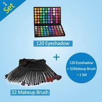 Promotion!Hot Sale Professional 120 Color Eye shadow Palette Eyeshadow With 32 pcs Black Makeup Brush Set Make Up Set