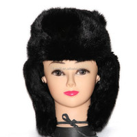 Men's crazy winter hats real rabbit fur cap with ears