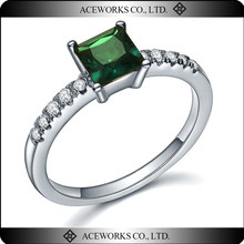 2015 new arrival 925 sterling silver anniversary rings jewelry fashion emerald opal rings for her