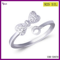 Wholesale Fashion New Design Bowknot Silver Ladies Finger Ring
