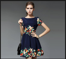 2014 Latest Design Woman Fashion Cotton Small Floral Print Dresses
