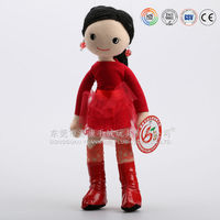 fashionable cheap plush girl dolls with red dress and long black hair