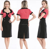 Vintage 1950s polka dot red & black pencil rockabilly pinup dress for women S-6XL