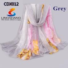 Hot Lady Scarf Girl Chiffon Shawl Charm Silk Scarves flowers Print Silk Chiffon Big Squares Beach Towels