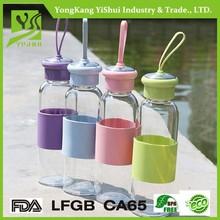 550ml high quality high borosilicate glass water bottle handle