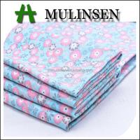 Mulinsen Textile Plain Flowers Printed Poplin Woven Cotton/Spandex Fabric