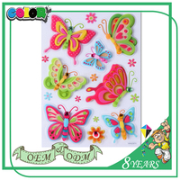 Top Sales Good Material Wholesale Price Colorful Cartoon 3D Butterfly Wall Sticker Mirror