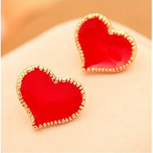 Enemal Red Heart Zizag Edge Silver Stud Earring, Fashion Jewelry This Summer