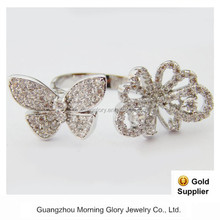 new design ladies adjustable butterfly jewelry open finger ring