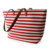 2015 wholesale beauty cheap canvas stripe tote bag