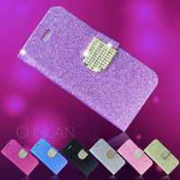 Hot selling luxury shiny powder glitter rhinestone bling wallet style leather phone case cover for iphone5c