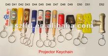 plastic mini LED bottle shaped keychain ,projector logo key chains,beer drinking promotion items