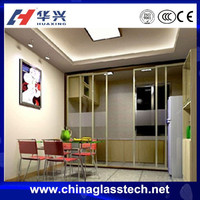 Sound and Heat insulation clear glass/colored glass/ tempered glass water resistance aluminum alloy frame sliding picture door