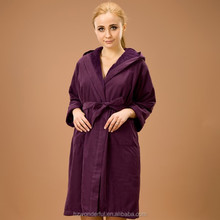 purple hooded double layer long sleeve lace evening gown/ microfiber bathrobe