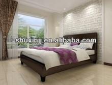 2015 modern home furniture black prado pu leather beds frame