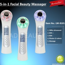 Facial slimming massage tool with ultrasonic and vibration functions