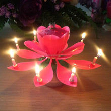 Yes Handmade and Paraffin Wax Material lotus flower music fireworks birthday candle jessica+0086-15032098633