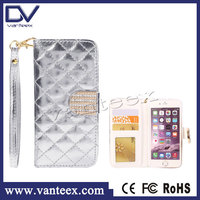 2015 New Product flip leather case for iphone 6,high quality plaid pattern case for iphone 6, for iphone 6 wallet case