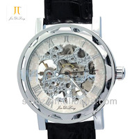 Skeleton Hollow Automatic Cell phone watch with leather band Cell phone watch