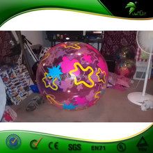 Bright-colored Inflatable glow beach ball / colorful beach ball for water and beach games