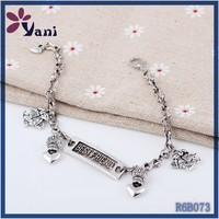 Thailand traditional jewellery Customized brand antique silver zinc alloy engraved best friend bangle bracelets