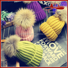 Winter Warm Women Large Raccoon Fur Ball Knit Caps Beanie Ski Hats Pom Pom Hats