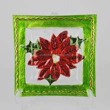 The Red Flower Green Side Of The Square Charger Glass Plate