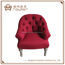 Red Fabric Upholstery Tufted French Style Coffee Shop Arm Chair
