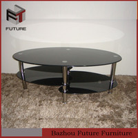black painted oval fish head shape tempered glass coffee table
