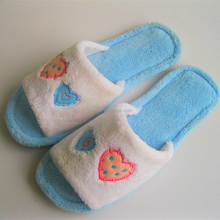 lovely blue opened-toe coral fleece woman indoor slipper